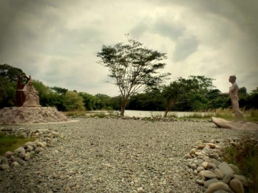 De plek waar Maria verscheen en de Indianen opriep naar de 'blanken' (Spaanse kolonisten) te gaan en zich te laten dopen om in de hemel te komen. Guanare, Venezuela